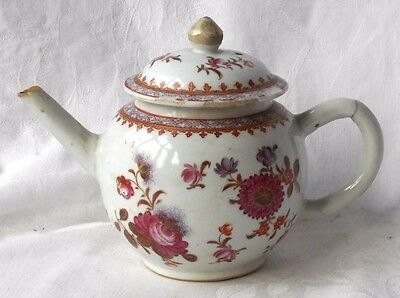 C18Th Chinese Famille Rose Tea Pot Painted With Flowers