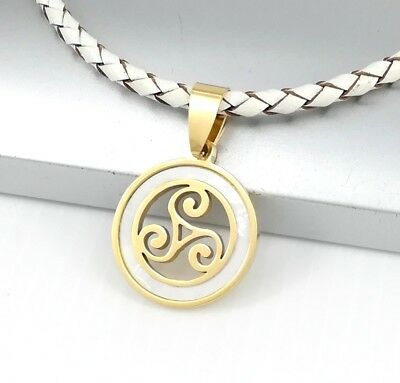 Gold Triskelion Triskele Spiral Celtic Pendant White Braided Leather Necklace
