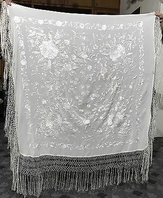 """Antique Hand Embroidered Piano Shawl 42""""By 42"""" Fringe 12"""""""