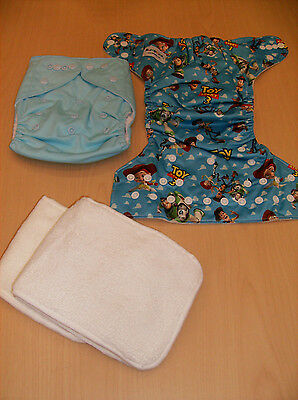 2 New Cloth Nappy Reusable Washable Adjustable Diapers W/liners Toy Story & Blue