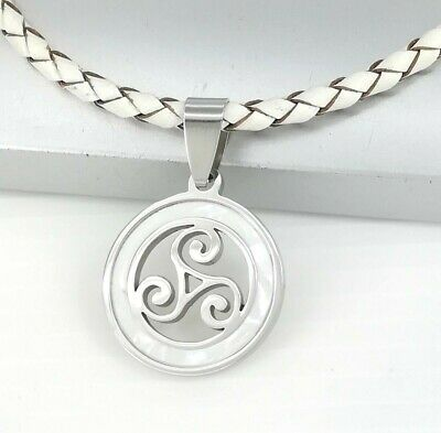 Silver Triskelion Triskele Spiral Celtic Pendant White Braided Leather Necklace
