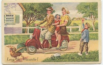 Mechanical Scooter Vespa motorcycle Valkenburg Holland original 1950s postcard