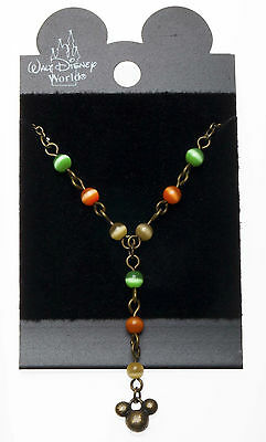 """AUTHENTIC DISNEY WORLD  MICKEY MOUSE HEAD """"Y"""" NECKLACE  brasstone ~ Adjustable"""