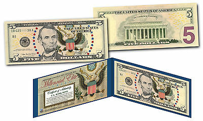 MILLENNIAL ELITE SERIES Genuine $5 Bill High-Def Colorized SYMBOLS OF FREEDOM
