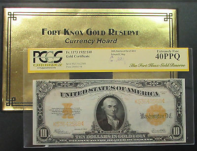 """1922 Gold Certificate """"fort Knox Gold Reserve"""" Pcgs 40 Ppg Edmund Moy Signature"""