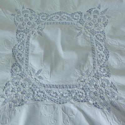 Antique Hand Embroidered Tape Lace, Battenburg Lace Tablecloth, Embroidered etc