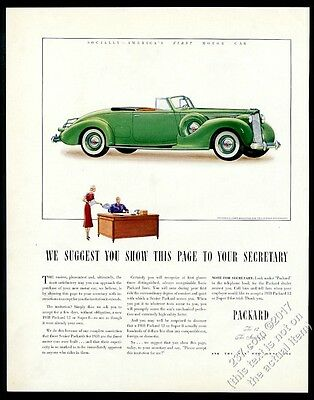1938 Packard 12 coupe roadster green car art vintage print ad