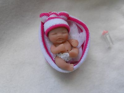 OOAK handmade miniature sulpt  4. 5 cm polymer clay baby doll  1/12th  by Carol