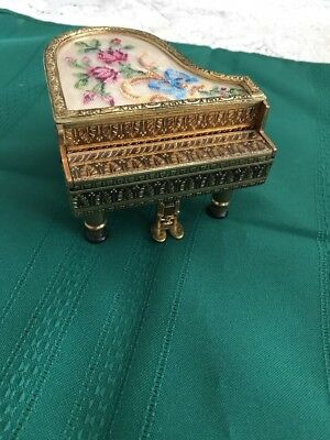 Vintage Reuge Austria Brass Music Box Needlepoint Baby Grand Piano