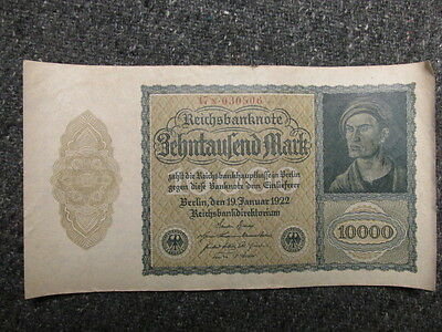 Weimar Era German 1922 10,000 Mark Paper Money