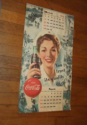 1953 Coca-Cola wall calendar~5 pages~missing Jan./Feb.
