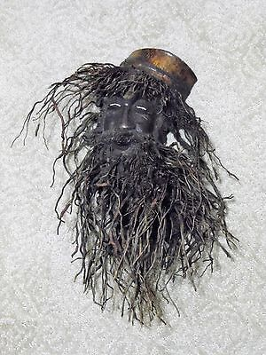 Carved Bamboo Root Face Scary Funny Bearded Man Handmade Wal Hanging Asian