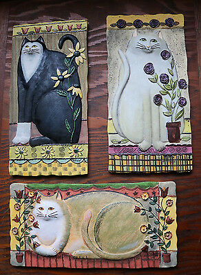 *WOW * Set of 3 E. Smithson 3-D Sculpture CAT Wall Plaques  Cat Tails
