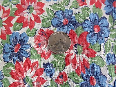 Vintage Floral Feed Sack Red Blue White Green Flowers