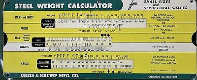 Dreis & Krump MFG CO Steel Weight Calculator for Small Sizes & Structural Shapes