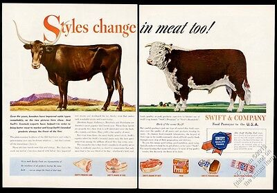 1946 longhorn shorthorn cattle art Swift meats vintage print ad