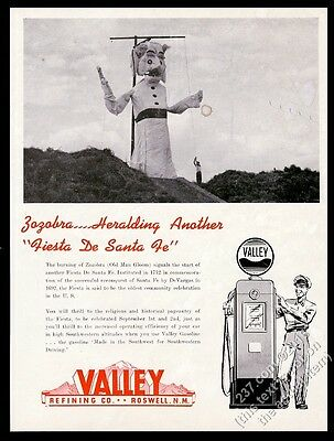 1945 Valley Refining Roswell NM gas pump Zozobra man to burn photo print ad