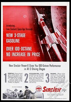 1959 Robert McCall rocket red outer space art Sinclair gas vintage print ad