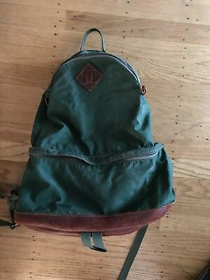 Vintage 1960s Backpack Green Nylon Leather