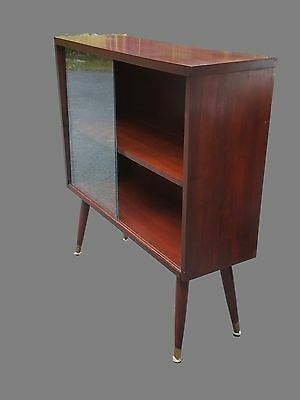 Vintage Mid-Century Glass-Front Solid Wood Bookcase