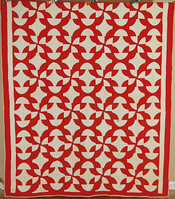 VIBRANT 1890's Red & White Drunkard's Path Antique Quilt ~UNUSUAL DESIGN!