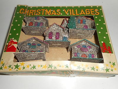 Vtg 5 pc. Japan 1950's GLITTER Church & Houses Christmas Village -Original Box