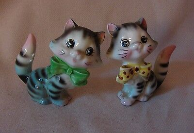 Sweet ca 1960's Vintage Striped Kitty Cats Salt & Pepper Shakers, Made in Japan