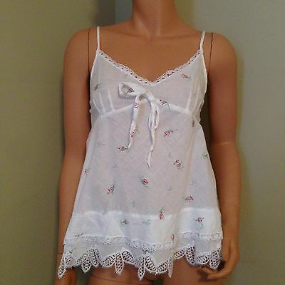 vtg womens Vanity fair top cami babydoll night gown short white floral SIZE S