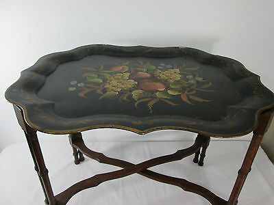 Toleware Hand Painted Tole by Pilgrim Art No 213 Antique Metal Tray & Wood Stand