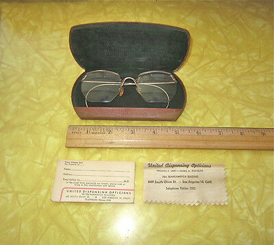 Vintage Wire Frame Granny, Hippie Glasses+Hard Case+Extras~Costume, Display