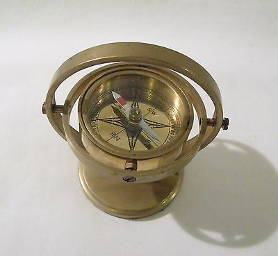 Vintage Ship Nautical Floating Brass Compass on Stand