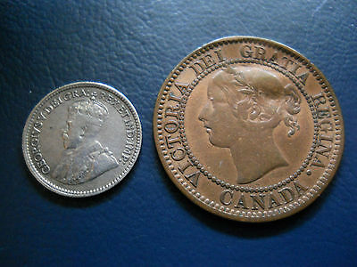 1918 Canada Five Cent King George V & 1859 Canada Large Cent Victoria Coins