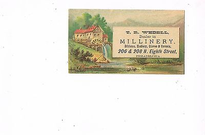 VICTORIAN ADVERTISING / TRADE Card   T. R. WEDELL MILLINERY, PHILADELPHIA, PA