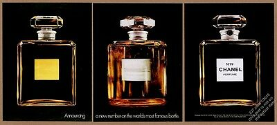 1972 Chanel No.19 perfume classic bottle color photo 3pg intorductory print ad