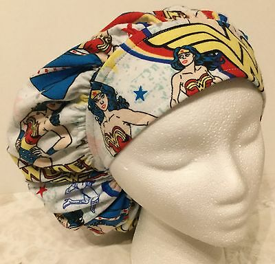 Flannel Wonder Woman Size: Large Medical Bouffant OR Scrub Cap Surgery Hat