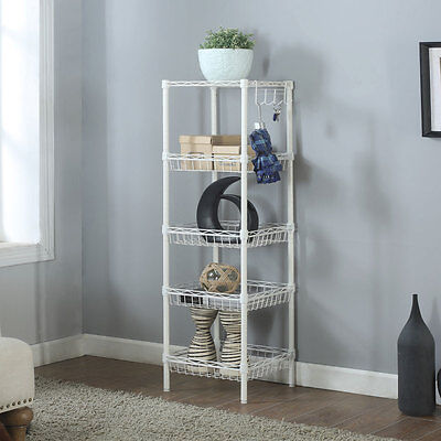 Storage Rack 5-Tier Organizer Kitchen Corner Shelving Steel Wire Shelves NEW