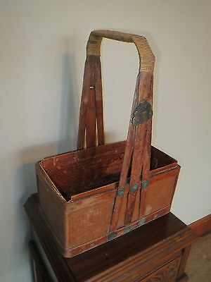 Antique Circa 17-1800's True Vintage Asian Wicker & Decorative Brass Basket