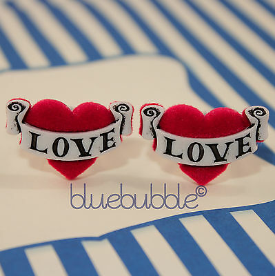 Funky Tattoo Love Heart Cufflinks Kitsch Sailor Pin Up Wedding Prom Novelty Gift