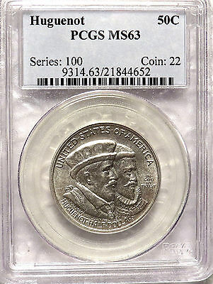 1924 Huguenot Silver Commemorative Half $. PCGS MS 63 Good Luster and Eye Appeal