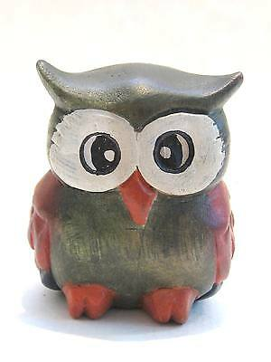 """Wooden Owl Hand Carved And Hand Painted Wood  Home Decor Sculpture 3"""" #2644"""