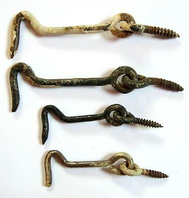 4 Old Small Hooks Gate Barn Door Cabinet Rusty White Green Back Chipping Paint