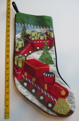 Lands End Toy Train Needlepoint Christmas Stocking Monogrammed WILLIAM in Blue