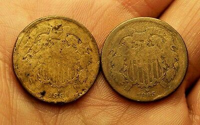 ++  1864 & 1865 Two Cent Pieces  Early Copper  Type Set  Civil War Era  ++