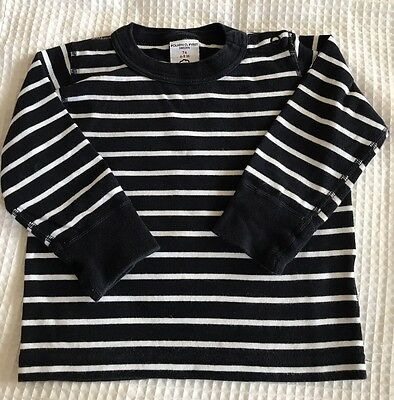Polarn O. Pyret Baby Boys Long Sleeved Navy & White Top Shirt Age 6-9 Months 74