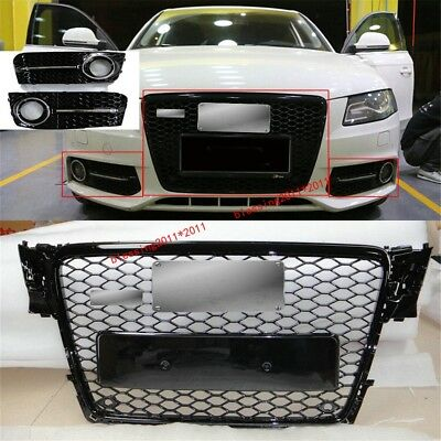 RS4 Euro Gloss Black Grille + Fog Grille Cover For 09-12 Audi A4 S4 B8 8K Avant