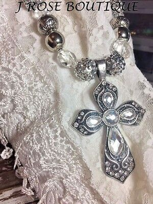 Gothic Medieval Halloween Cross Large Silver Glam Necklace Pendant Western Mod