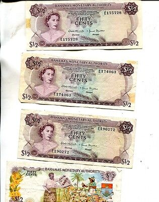 Bahamas 1968 .50 Currency Note Lot Of 4 Vg F 9885J