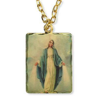Our Lady of Grace Miraculous Medal Icon on Gold Plate Pendant w Chain Necklace