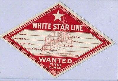 White Star Line First Class Travel Steamer Label Unused 1900 Excellent Titanic ?