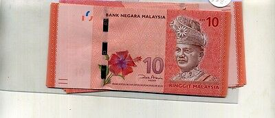 Malaysia 10 Ringgit 5 Consecutively Numbered Currency Notes 1576E